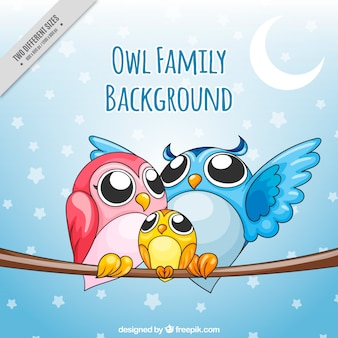 Hand drawn owl family background