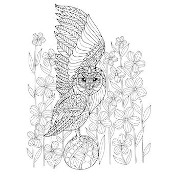 Hand drawn owl and flower
