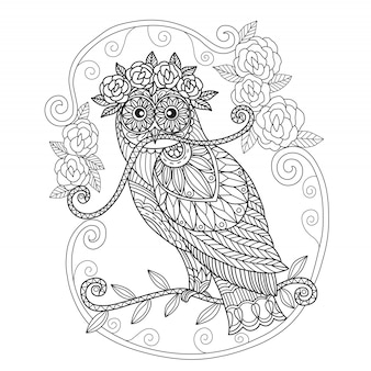 Hand drawn owl and roses