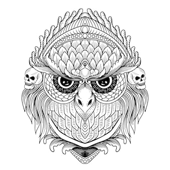 Hand drawn owl with skull and ornament line art black and white