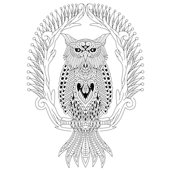 Hand drawn of owl in zentangle style
