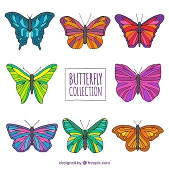 Hand-drawn pack of colored butterflies