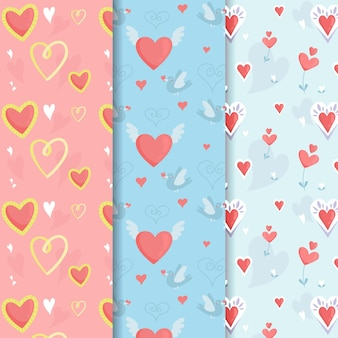Hand drawn pack of cute heart patterns