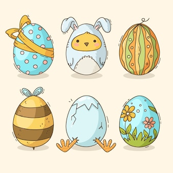 Hand-drawn pack of decorated easter eggs