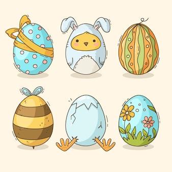 Confezione disegnata a mano di uova di pasqua decorate