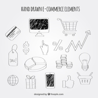 Hand drawn pack of e-commerce elements