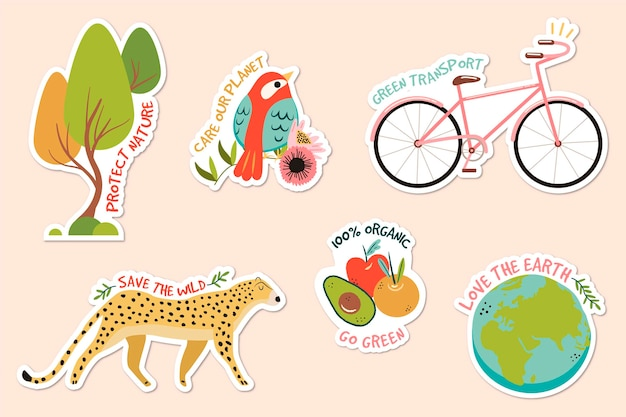 Pacchetto disegnato a mano di badge di ecologia