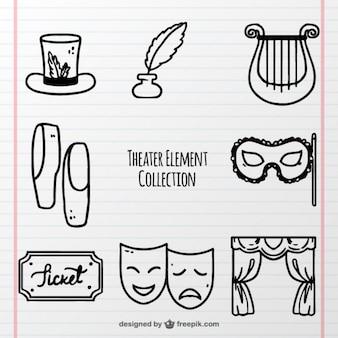 Confezione disegnata a mano di oggetti teatrali fantastici