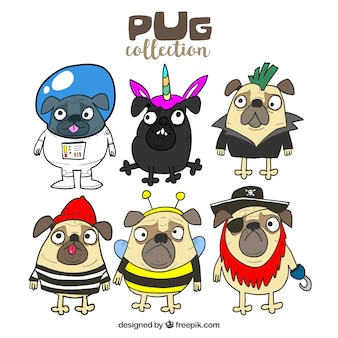 Hand drawn pack of funny pugs