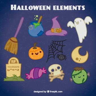 Hand drawn pack of halloween elements