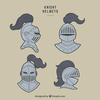 Hand drawn pack of knight helmets