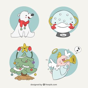 Pacchetto a mano illustrazione di simpatici personaggi di natale