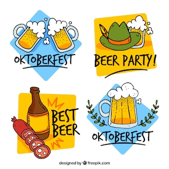 Hand drawn pack of beer party badges