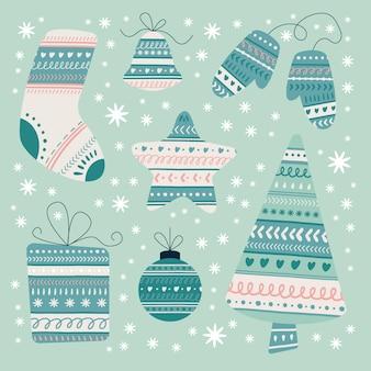 クリスマス要素の手描きパック