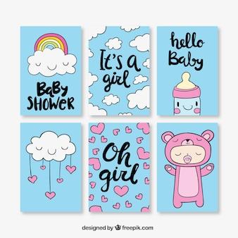 Ручной тяге пакет милый ребенок душ карты