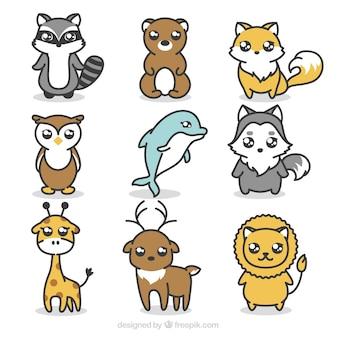 素敵な動物の手描きのパック