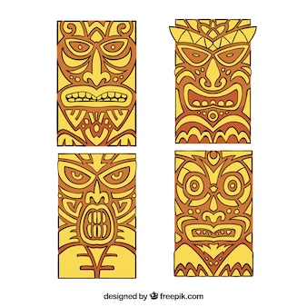 Нарисованный вручную набор полинезийских масок