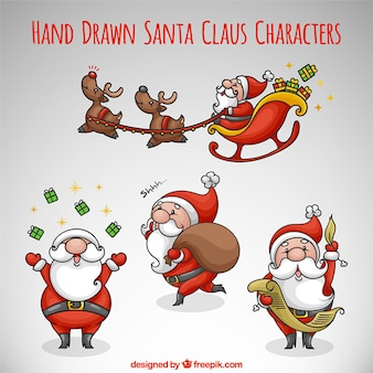 Hand-drawn pack of santa claus in different activities