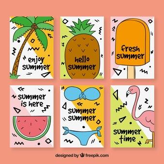 여름 카드 6 장을 손으로 그린 팩