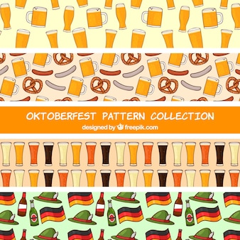 Hand drawn pack of oktoberfest patterns