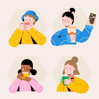 Hand drawn pack of people with hot drinks