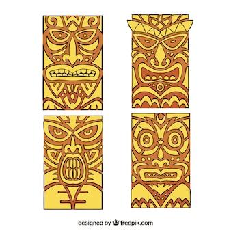 Pacchi disegnati a mano di maschere polinesiane