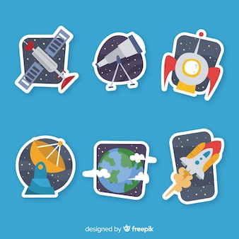 Hand drawn pack of space stickers