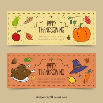 Hand drawn pack of thanksgiving banners