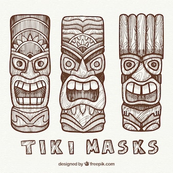 Hand drawn pack of tribal tiki masks