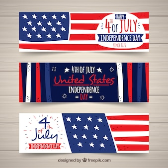 Hand drawn pack of usa indepence banners