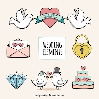 Hand drawn pack of wedding elements