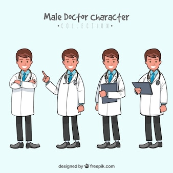Hand drawn pack with doctor wearing white coat