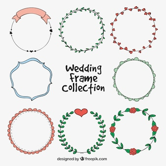 Hand-drawn pack with with round wedding frames