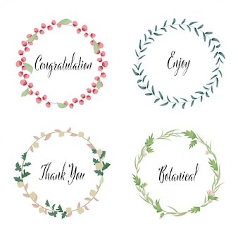 Hand drawn painted watercolor wreath floral frame leaves.