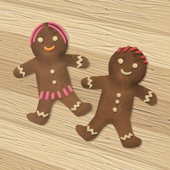 Hand drawn a pair of gingerbread cookies