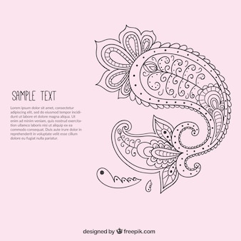 Hand drawn paisley ornament template