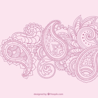 Hand drawn paisley ornaments in pink color