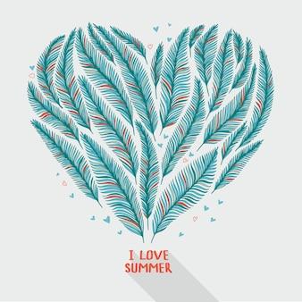 Рука нарисованные пальмовые листья в форме сердца. тропическая иллюстрация.