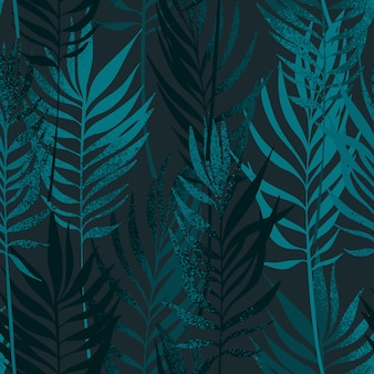 Hand drawn palm leaves with texture seamless pattern.