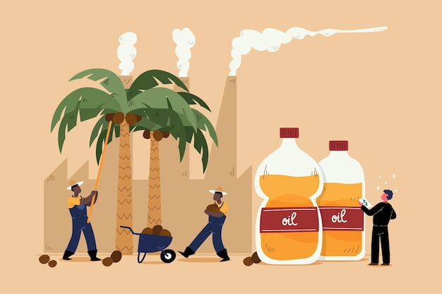 Hand drawn palm oil producing industry concept