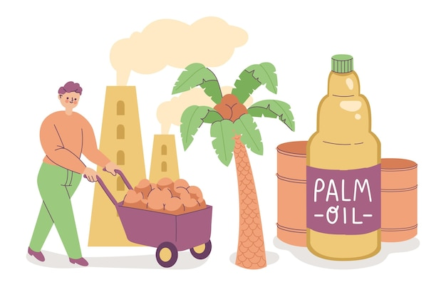 Hand-drawn palm oil producing industry illustration