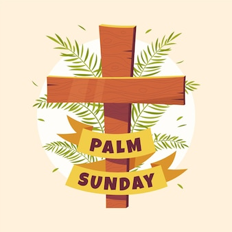 十字架と手描きの手のひらの日曜日のイラスト