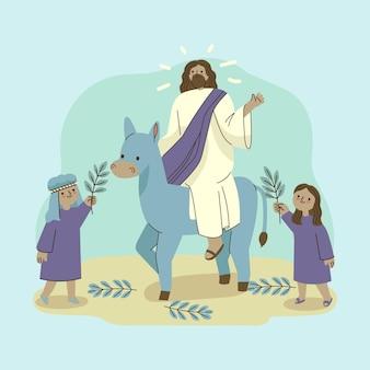 イエスとロバと手描きのヤシの日曜日のイラスト