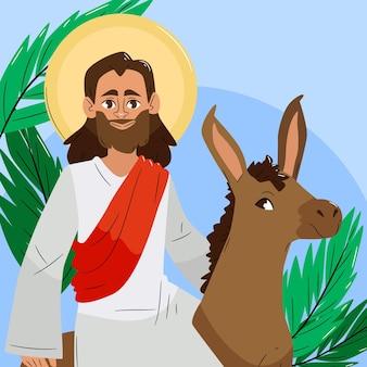 Illustrazione disegnata a mano di domenica delle palme