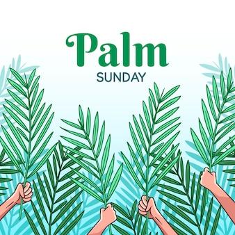 手描きの手のひらの日曜日のイラスト