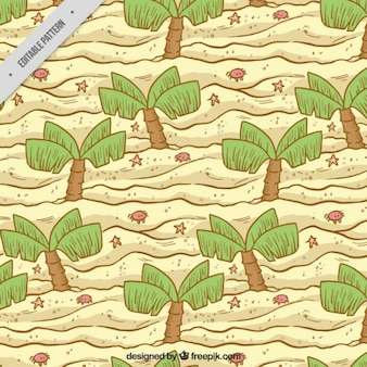 Hand drawn palm trees on the beach pattern