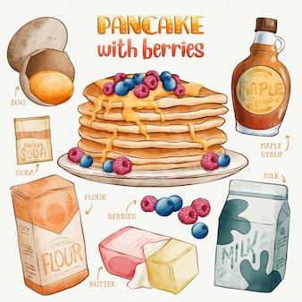 Hand drawn pancake with berries recipe