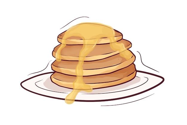 Hand drawn pancake with honey