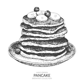 손으로 그린 팬케이크.