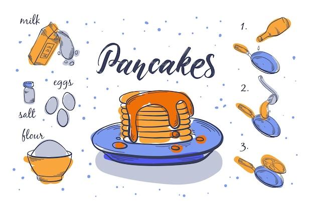 Hand drawn pancakes recipe